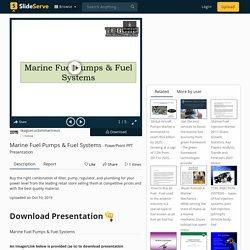 Marine Fuel Pumps & Fuel Systems