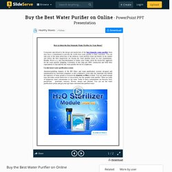 Best Domestic Water Purifier for Your Home