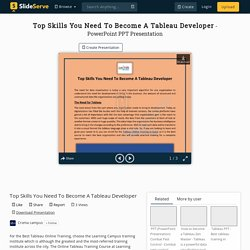 Top Skills You Need To Become A Tableau Developer