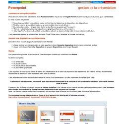 Powerpoint - gestion de la présentation