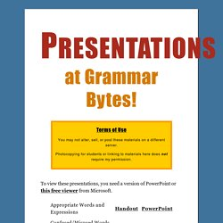Presentations at Grammar Bytes!