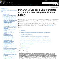 PowerShell Scripting Communicator Automation API Using Native Type Library