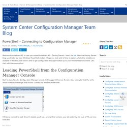 PowerShell – Connecting to Configuration Manager