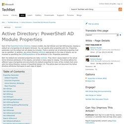 Active Directory: PowerShell AD Module Properties