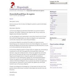 Powershell modif base de registre - Megasimple N'oubliez pas les bons plans cliquez ici