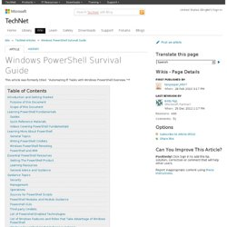 Windows PowerShell Survival Guide - TechNet Articles - Home - TechNet Wiki