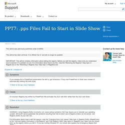 PPT7: .pps Files Fail to Start in Slide Show