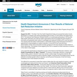 NYC HEALTH 23/08/16 Health Department Announces 5 Year Results of National Salt Reduction Initiative