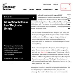A Practical Artificial Leaf Begins to Unfold