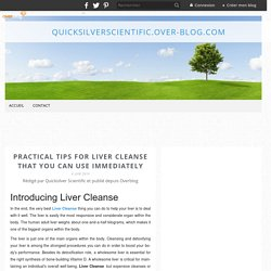 Practical Tips for Liver Cleanse That You Can Use Immediately - quicksilverscientific.over-blog.com