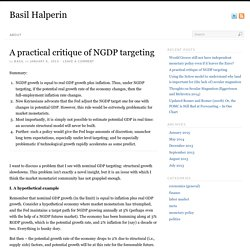 A practical critique of NGDP targeting