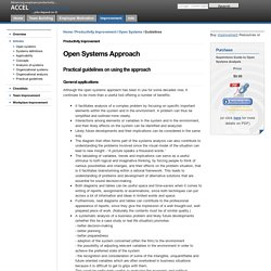 Practical guidelines in the use of the open systems approach.