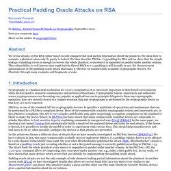 Practical Padding Oracle Attacks on RSA