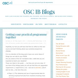 Getting your practical programme together - OSC IB Blogs