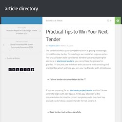 Strategy to Win Your Next Tender