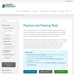 Practice and Training Tests - Smarter Balanced Assessment Consortium
