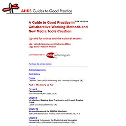 A Guide to Good Practice in Collaborative Working Methods and New Media Tools Creation