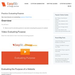 Practice: Evaluating Purpose - EasyBib Blog