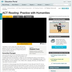 ACT Reading: Practice with Humanities Video - Lesson and Example