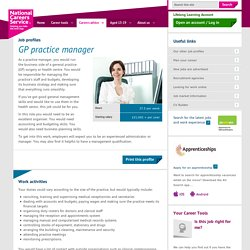 GP practice manager Job Information