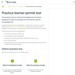 Practice learner permit knowledge test : VicRoads