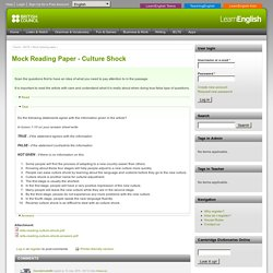 Mock Reading Paper - Culture Shock