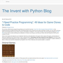 """I Need Practice Programming"": 49 Ideas for Game Clones to Code"