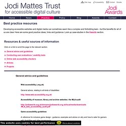 Best practice resources - Jodi Mattes Trust