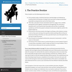 1. The Practice Routine — Fundamentals of Piano Practice