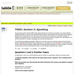 TOEFL Practice, Section 3: Speaking