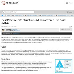 Best Practice: Site Structure—A Look at Three Use Cases (MT4) - MindTouch Customer Success Center