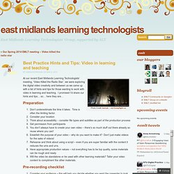 Best Practice Hints and Tips: Video in learning and teaching