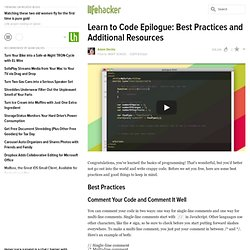 Learn to Code Epilogue: Best Practices and Additional Resources