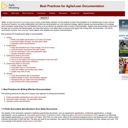 Best Practices for Agile/Lean Documentation