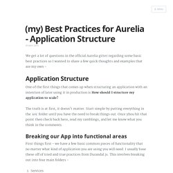 (my) Best Practices for Aurelia - Application Structure