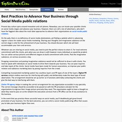 Best Practices to Advance Your Business through Social Media public relations