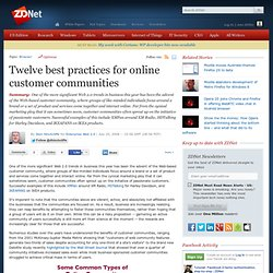 Twelve best practices for online customer communities