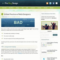 30 Bad Practices of Web Designers