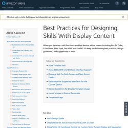Best Practices for Designing Skills With Display Content