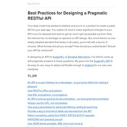 Best Practices for Designing a Pragmatic RESTful API