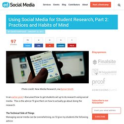 Using social media for student research, part 2: practices and habits of mind
