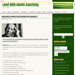 Drucker's 9 Practices of Effective Leaders - Lead With Giants Coaching