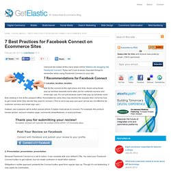 7 Best Practices for Facebook Connect on Ecommerce Sites « Get Elastic Ecommerce Blog