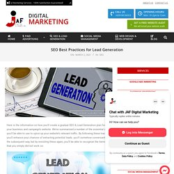 JAF Shares Best Practices for SEO & Lead Generation