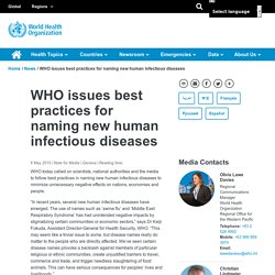 WHO issues best practices for naming new human infectious diseases