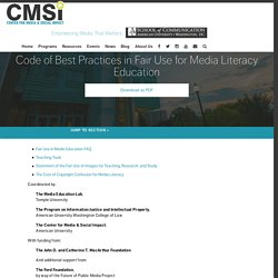Code of Best Practices in Fair Use for Media Literacy Education - Center for Media and Social Impact