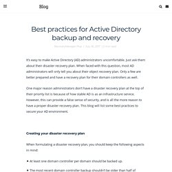 Best practices for Active Directory backup and recovery - ManageEngine Blog