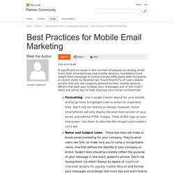 Best Practices for Mobile Email Marketing - Partner Community