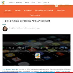 11 Best Practices For Mobile App Development