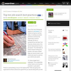 Top ten job search best practices - National career management